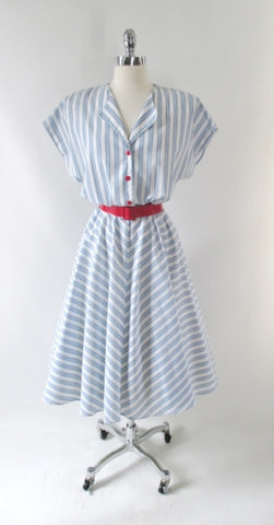Vintage 80's White & Blue Chambray Stripe Full Skirt Day Dress L