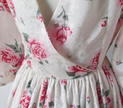 Vintage 80s Red Pink Roses Full Skirt Tea Party Dress L - Bombshell Bettys Vintage