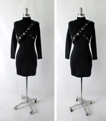 Vintage 80's / 90's Black Wool Andrea Jovine Bodycon Dress S / P - Bombshell Bettys Vintage