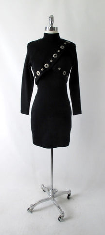 Vintage 80's / 90's Black Wool Andrea Jovine Bodycon Dress S / P