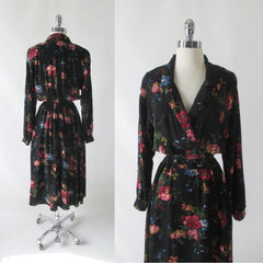 Vintage 80's 90's Black Floral Day Dress M - Bombshell Bettys Vintage