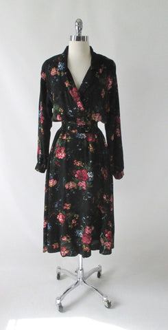 Vintage 80's 90's Black Floral Day Dress M