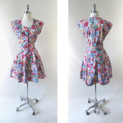 Vintage 90's Floral Button Up Mini Dress - Bombshell Bettys Vintage