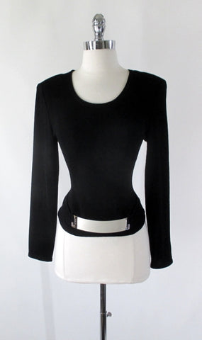Vintage 80s Joseph Ribkoff Belted Chrome Top S