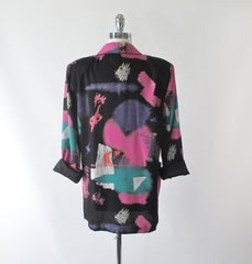 Vintage 80's New Wave Abstract Oversized Blazer XL - Bombshell Bettys Vintage