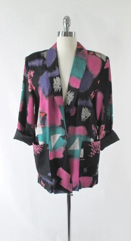 Vintage 80's New Wave Abstract Oversized Blazer XL