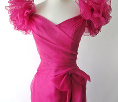 Vintage 80's Magenta Puff Shoulders Party Gown Dress S - Bombshell Bettys Vintage
