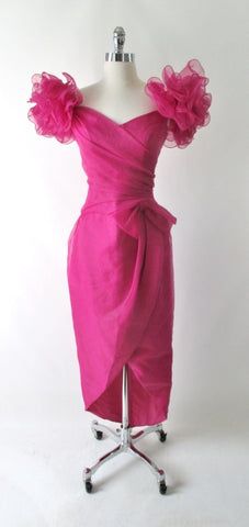 Vintage 80's Magenta Puff Shoulders Party Gown Dress S