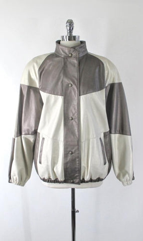 Vintage 80s Rocco D'Amelio Colorblock Leather Jacket L