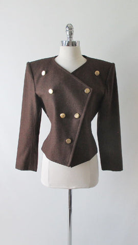 Vintage 80's Yves Saint Laurent Diffusion Military Origami Wool Jacket M