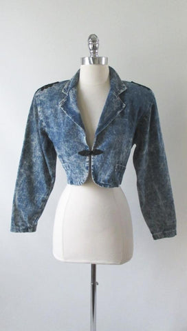Vintage 80's Acid Wash Denim Jean Cropped Bolero Jacket Coat