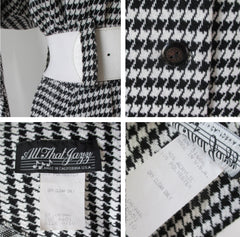 Vintage 80's Black White Houndstooth Button Back Dress M - Bombshell Bettys Vintage