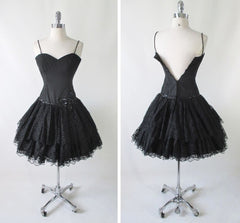 vintage 80's black lace sweetheart full skirt 50's insp party evening mini dress back