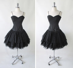 vintage 80's black lace sweetheart full skirt 50's insp party evening mini dress