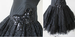 vintage 80's black lace sweetheart full skirt 50's insp party evening mini dress skirt