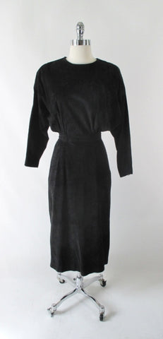 Vintage 80's Black Suede Leather Dolman Sleeve Dress