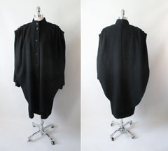 vintage 80's black wool cocoon coat jacket full