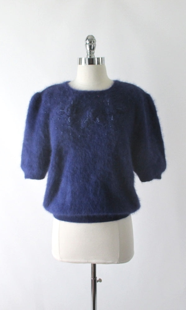 Vintage 80's Fluffy Blue Beaded Rosette Angora Sweater Top L - Bombshell Bettys Vintage