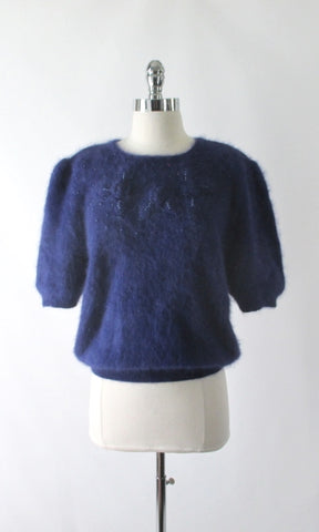 Vintage 80's Fluffy Blue Beaded Rosette Angora Sweater Top L