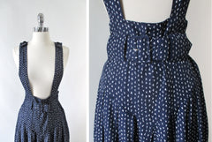 Vintage 80's Navy Blue High Waisted Pinafore Skirt & Matching Belt M - Bombshell Bettys Vintage