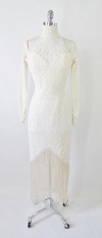 Vintage 80's / 90's Antique White Lace Fringe Bodycon Dress M