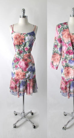 Vintage 80s Floral Dress & Matching Jacket / Blazer Party Set L