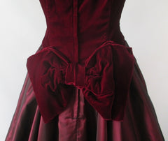 Vintage 80's / 50's Style Deep Red Velvet Sharkskin Taffeta Full Skirt Party Dress L