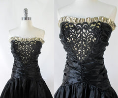 Vintage 80's Strapless Black Satin & Gold Party Dress XS - Bombshell Bettys Vintage