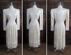 vintage 80's silk gunne sax victorian wedding tea dress full