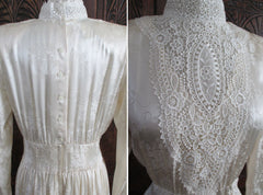 vintage 80's silk gunne sax victorian wedding tea dress detail lace