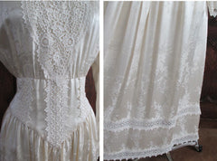 vintage 80's silk gunne sax victorian wedding tea dress hem