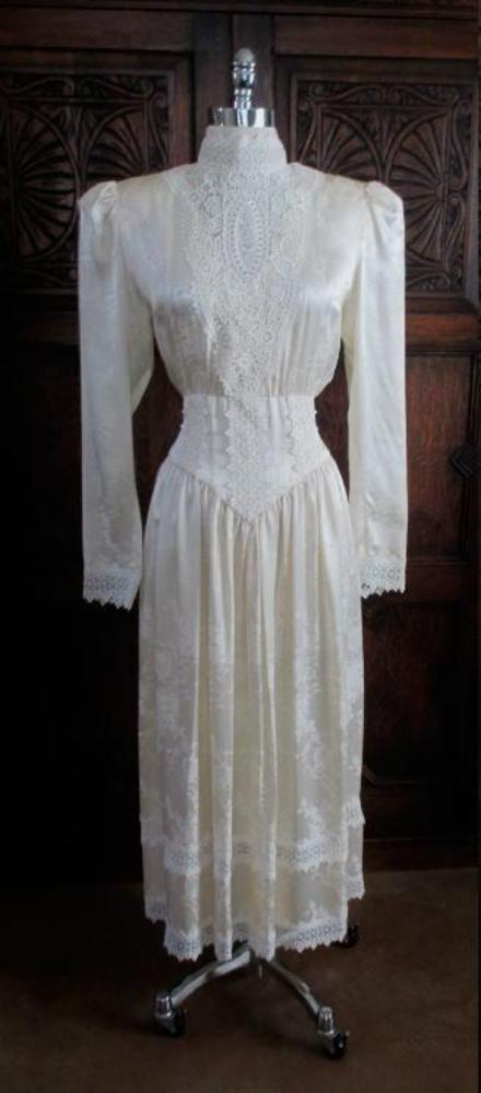 vintage 80's silk gunne sax victorian wedding tea dress gallery