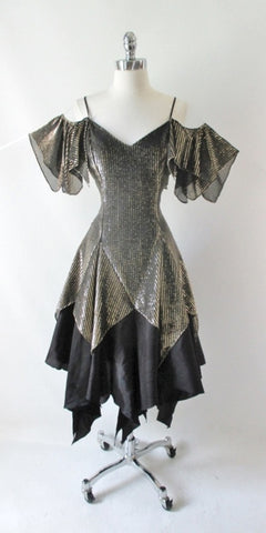 Vintage 80's Gold Off The Shoulders Hankie Hem Party Dress M