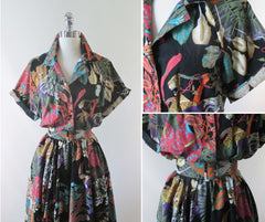 Vintage 80's Jungle Animal Print Full Skirt Day Dress L - Bombshell Bettys Vintage