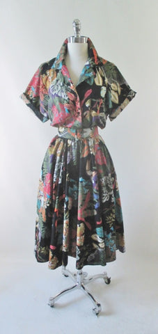 Vintage 80's Jungle Animal Print Full Skirt Day Dress L