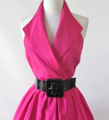 Vintage 80's Hot Pink Full Skirt Party Dress S - Bombshell Bettys Vintage