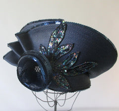 Vintage 80's Navy Blue Flower Sequins Derby Hat - Bombshell Bettys Vintage