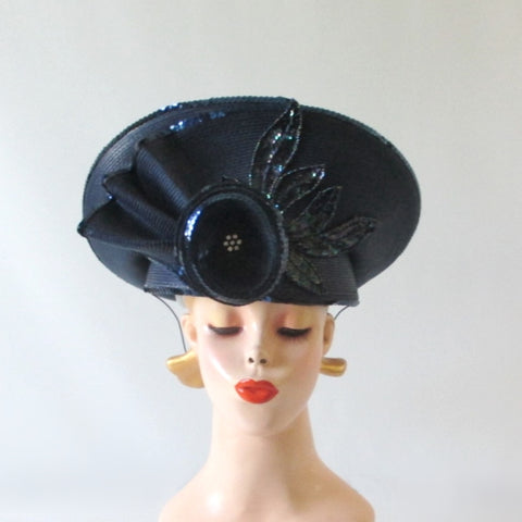 Vintage 80's Navy Blue Flower Sequins Derby Hat