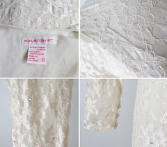 vintage 80's Halston white ivory lace wedding tea special occasion party rhinestone dress tag cuff buttons