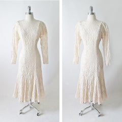 vintage 80's Halston white ivory lace wedding tea special occasion party rhinestone dress