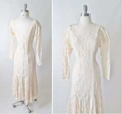 vintage 80's Halston white ivory lace wedding tea special occasion party rhinestone dress back
