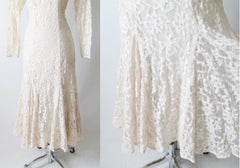 vintage 80's Halston white ivory lace wedding tea special occasion party rhinestone dress hem
