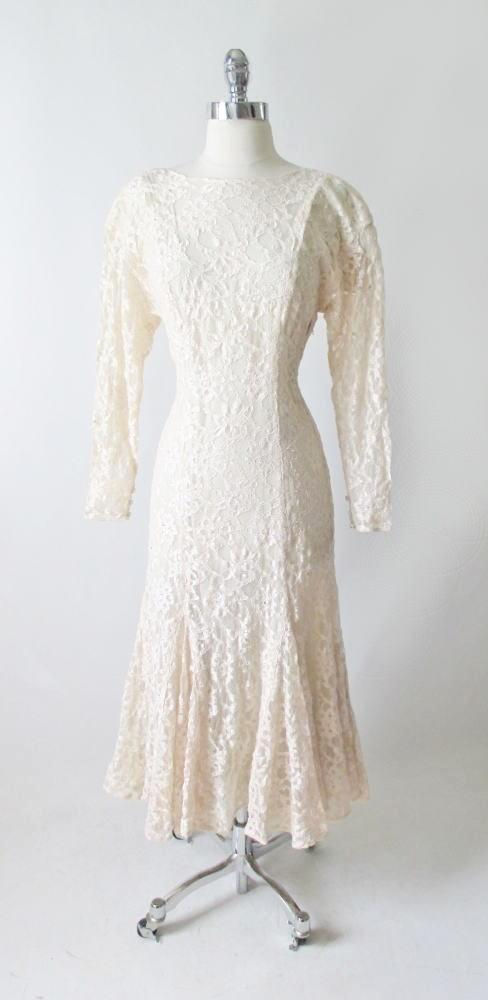 vintage 80's Halston white ivory lace wedding tea special occasion party rhinestone dress bombshell bettys vintage