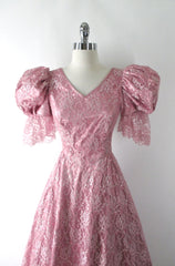 Vintage 80's Shimmering Pink Lace Renaissance Party Dress / Gown S - Bombshell Bettys Vintage