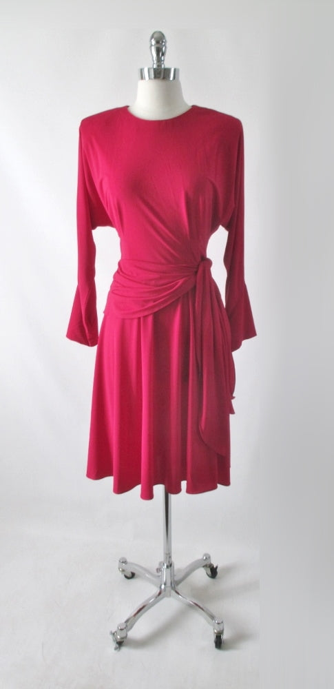 Vintage 80s Raspberry Red Side Tie Dress M - Bombshell Bettys Vintage