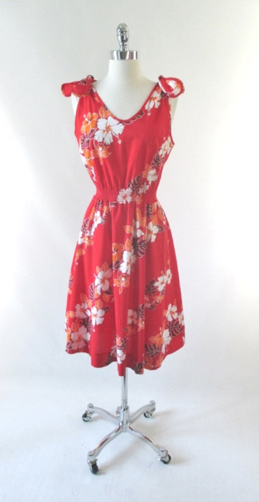 Vintage 80's Tie Top Hawaiian Sundress Dress M - Bombshell Bettys Vintage