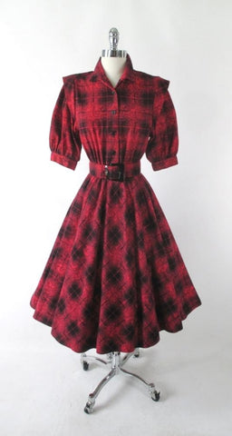 Vintage 80's 50's Style Full Skirt Red Plaid Flannel Dress S
