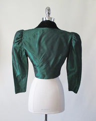 vintage 80's 1890's style victorian green taffeta velvet puff sleeve party evening jacket cropped bolero back