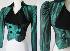 vintage 80's 1890's style victorian green taffeta velvet puff sleeve party evening jacket cropped bolero buttons