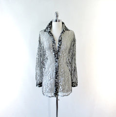 Vintage 80's Silver & Black Lace Oversize Button Down Blouse - Bombshell Bettys Vintage